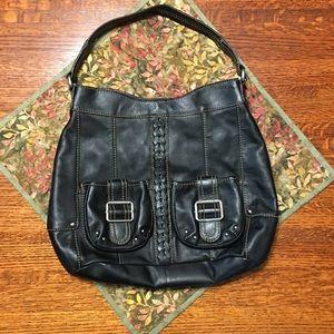 Tignanello black shoulder hobo bag, silver details